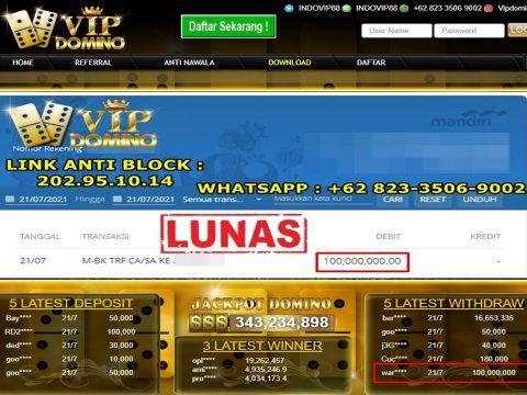 Jackpot Kemenangan 100 Juta Rupiah di situs Vipdomino