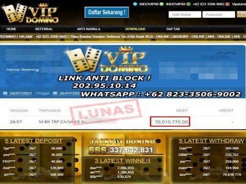 Dapat 70Juta Rupiah dari Situs VIP DOMINO